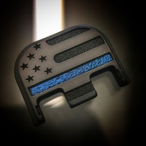 Black Cerakoted Titanium American Flag - BLACKOUT Thin Blue Line
