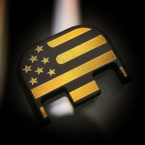 Black Cerakoted Titanium Gold American-Flag End Plate
