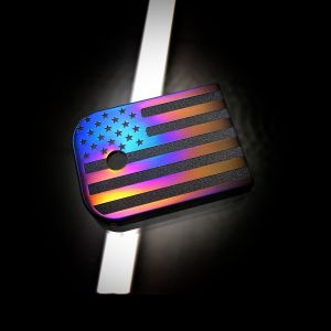 Titanium Mag Plate: American Flag Flame Anodized