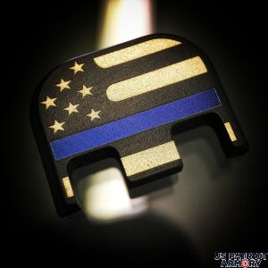 Black Cerakoted Titanium American Flag (Traditional): Thin Blue Line